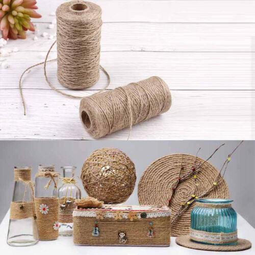 100Meters Natural Dry Twine Cord Jute Twine Rope Thread DIY Decor Toy Craft Z0HW
