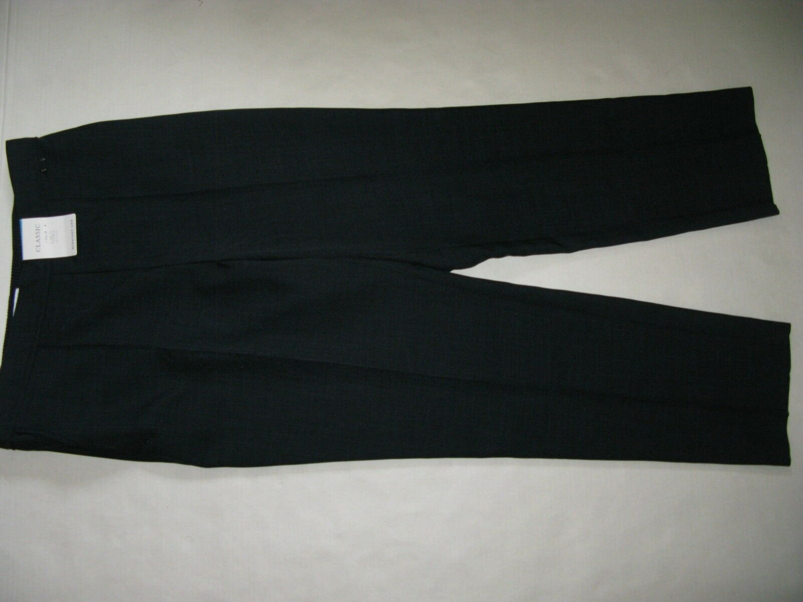 F MARKS AND SPENCER TROUSERS NAVY UK 14 REGULAR BNWT STRETCHY WAIST STRAIGHT LEG