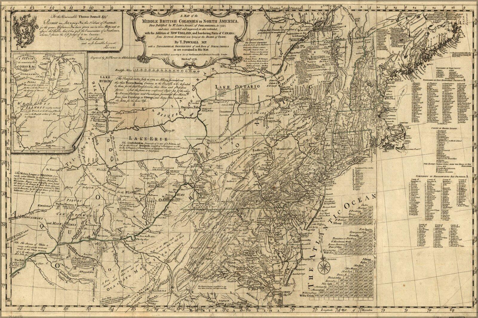 Plakat, Viele Größen; Karte von Britisch Colonies vor Vereinigte Staaten