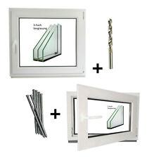 Kunststoff Kellerfenster Wohnraumfenster Fenster Dreh Kipp weiß Montagematerial