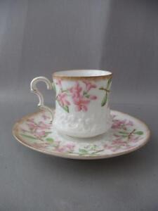 ANTIQUE VTG T & V LIMOGES MAY FLOWER PORCELAIN PINK ROSES DEMITASSE CUP & SAUCER