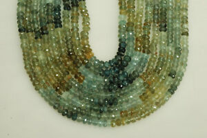 "6mm Moss Aqua Faceted Rondelle Bead 105ct, 14.5"" long"