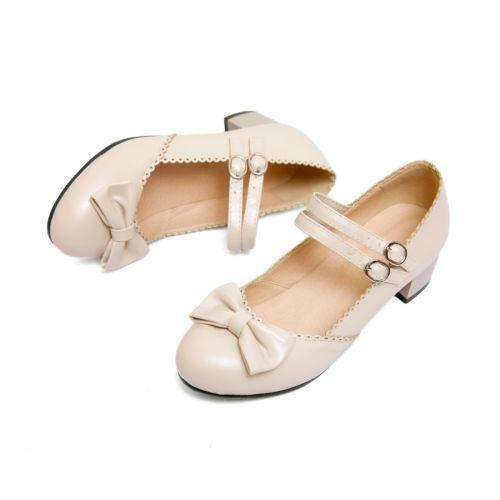 Womens Sweet Lolita Dance Oxford Mary Jane Ankle Strap Bowknot Mid Heels Shoes
