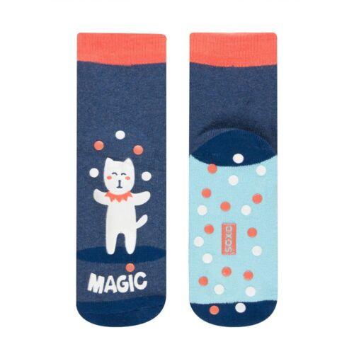 Unisex Kids Fun Magic Juggling Cat Glow In The Dark Grip Socks In 2 UK Sizes