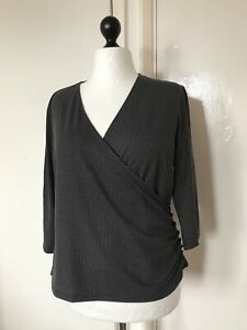 Viyella-Women-s-Black-Spotted-Stretch-wrap-Top-Size-XL-Excellent-Condition