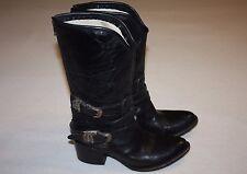 "Freebird by Steven FB ""Pikes"" Black Leather Zipper Riding Boots Women 7, Nice"