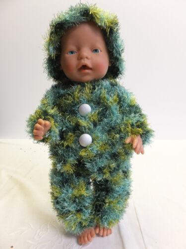 3 Babypuppen & Zubehör teiliger Puppenanzug Handarbeit gehäkelt passend für Baby Born grün gemustert