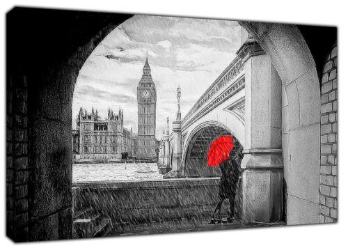London Big Ben Westminster Bridge Couple Love Print On framed Canvas Wall art