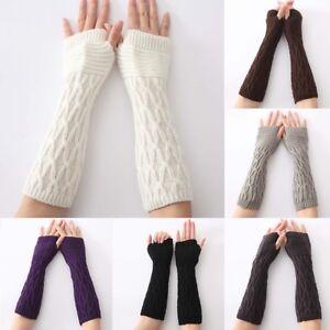Women Winter Wrist Arm Hand Warmer Gloves Knitted Long Fingerless Gloves Mitten
