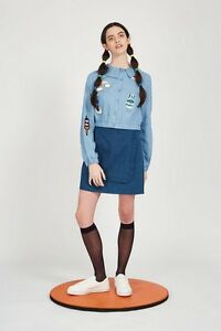 THE WHITEPEPPER Gingham Patch T-Shirt Crop Top Blue Hipster #6E121