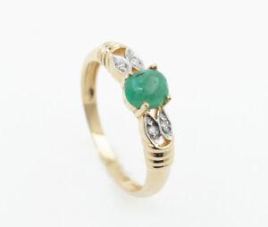Cabujon-Esmeralda-Anillo-Mujer-con-Diamantes-Oro-Amarillo-585-14k-Gr-54-2-0g