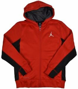 38d9dc3124dd07 Air Jordan Therma-Fit Full Zip Youth Hoodie  Gym Red and Black