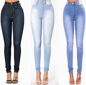 2410a052ad9 Image is loading Women-High-Waist-Slim-Skinny-Jeans-Stretch-Pencil-