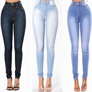 48cdc3b2bb7f5e Image is loading Women-High-Waist-Slim-Skinny-Jeans-Stretch-Pencil-
