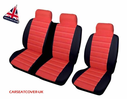 PEUGEOT EXPERT RED//BLK PADDED LEATHER LOOK VAN SEAT COVERS SINGLE /& DOUBLE