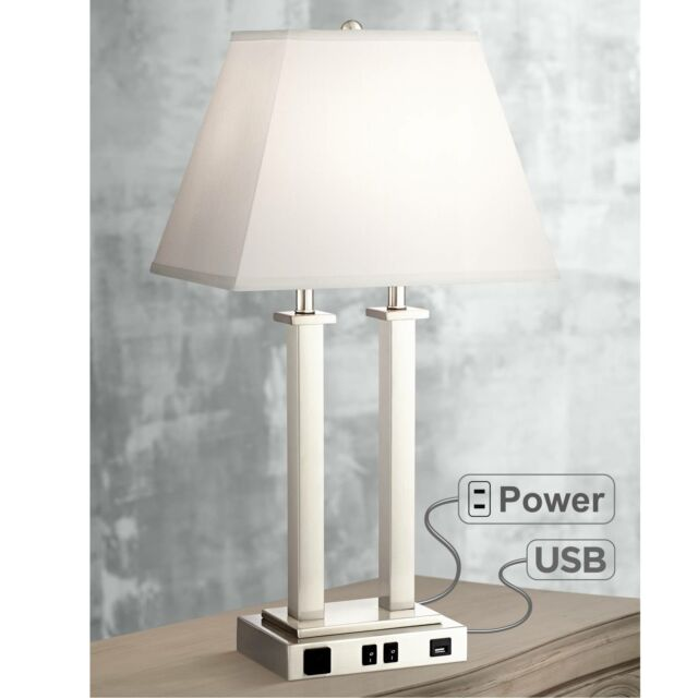 Modern Table Lamp with USB Brushed Steel Side Outlet for Bedroom - Lamps  Plus