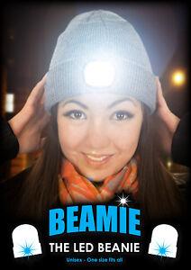 Le-Beamie-Bonnet-Avec-DEL-Torche-origine-Gris-Taille-Unique-Neuf-Cadeau