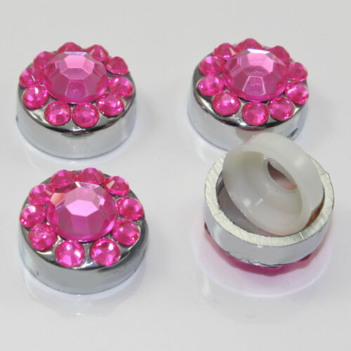 4 Pink Diamond Crystals Bling Car License Plate Frame Screw Bolt Covers Caps
