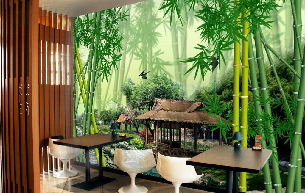 3D Bambushäuser Fluss 67 Tapete Tapeten Mauer Foto Familie Tapete Wandgemälde DE