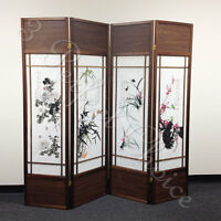 4 Folding Screen Panels Divider Walnut Frame Chinese Floral Print Wood Shoji