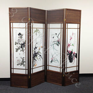 4 Folding Screen Panels Divider Walnut Frame Chinese Floral Print
