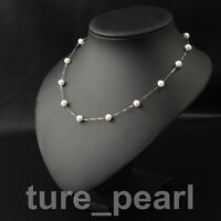 genuine 925 sterling silver 8-9mm freshwater Round pearl necklace