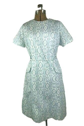 Vintage Mod Dress 1960s Blue White Geometric Spark