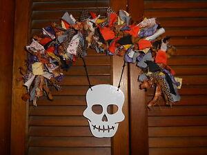 Country Shabby Homespun HALLOWEEN RAG GARLAND,6 feet,Orange /& Black