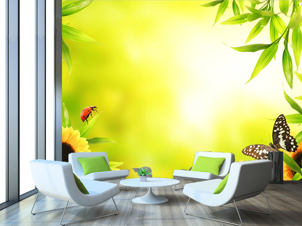 3D Butterfly insect Grün Wall Paper Print Decal Wall Deco Indoor wall Mural
