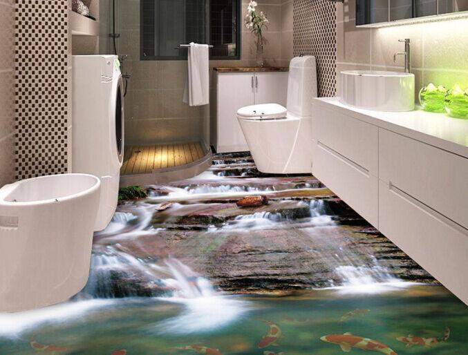 3D Waterfall fish 012 Floor WallPaper Murals Wall Print Decal 5D AJ WALLPAPER