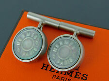 Authentic HERMES CLOUS DE SELLE Shell Silvertone Cufflinks + Box