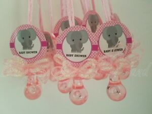 12-Elephant-Pacifier-Necklaces-Baby-Shower-Favors-PINK-It-039-s-a-Girl-Games-Prizes