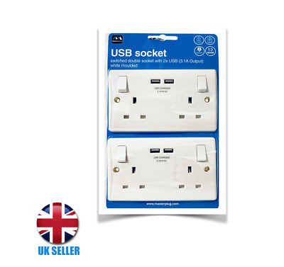 2 Usb Double Wall Socket Plug Gang Charger 2x3.1amp Port Plate Outlets Uk Ports