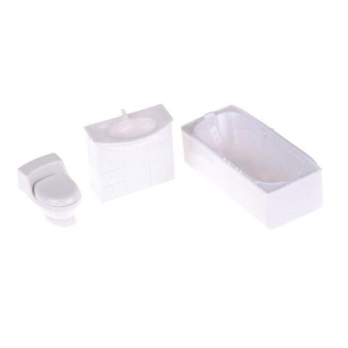 3pcs Dollhouse Bathroom Closestool Bathtub Wash Basin Model Set Toy B1LC