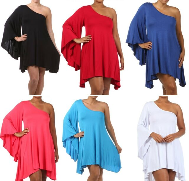 Women's Plus Size One Shoulder Dolman Sleeve Hi Lo Rayon Jersey Midi Dress