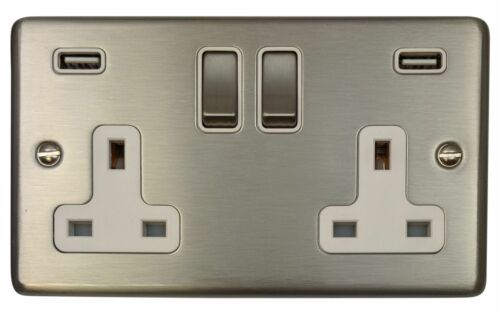 G/&H CSS2910 Standard Plate Brushed Steel 2G Double 13A Switched Socket 2.1A USB