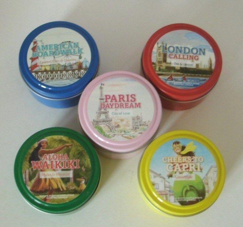 5 Pc Bath & Body Works 4 oz Tin Candle Set London American Paris Aloha Capri