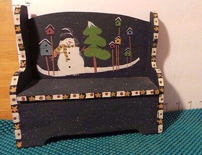 Wooden Storage Bench, Doll, Winter Snowman Theme, Ohio Wholesale Inc.