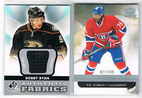 12-13 BOBBY RYAN UD SP GAME USED AUTHENTIC FABRICS #AF-BR DUCKS