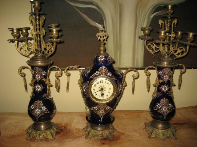 Antique Clock & Candelabras Set Boch Freres Keramis French Enameled Porcelain