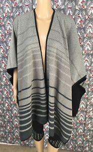 Ike-Behar-Fleece-Wrap-Shawl-Women-039-s-Open-Front-Gray-Striped-One-Size
