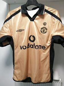 2002 Gold & White Man Utd away shirt - centenary reversible shirt - Small men's