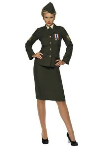 WOMEN-039-S-SEXY-WARTIME-OFFICER-COSTUME-SIZE-LARGE-with-defect