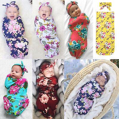 Newborn 2PCS Baby Infant Swaddle Wrap Blanket Sleeping Bag Hat Sleep Sacks UK