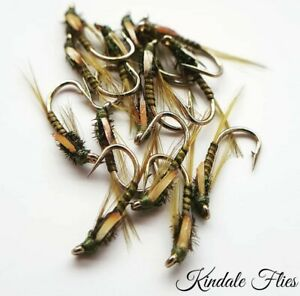 J-C-Olive-Quill-Diawl-Bachs-size-10-Set-of-3-Fly-Fishing-Straight-DB