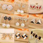 1 Pair New Fashion Women Lady Elegant Pearl Rhinestone Ear Stud Earrings