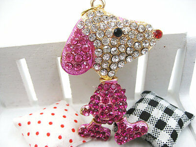 Crystal Snoopy Dog Keychain Rhinestone Keyring Key chain ring Bag Charm Pendant