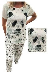 Fab Femmes AVON Panda Coton Pyjama De Détente à revers chevilles 6-24