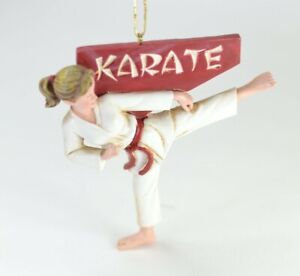 Karate Girl Resin Christmas Ornament NEW