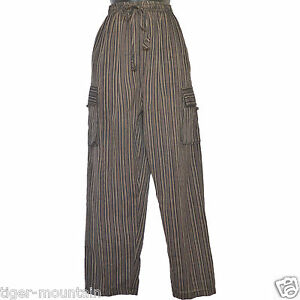 Hippy-Casual-Unisex-Baggy-Cotton-Trousers-in-Black-Stripes-amp-cargo-side-pockets